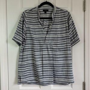 J. Crew Gray and White Stripe Gauze Tunic, Size XS